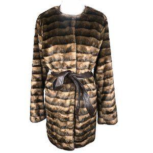 CAPSULE 1 PC Collarless Belted Faux Fur Coat